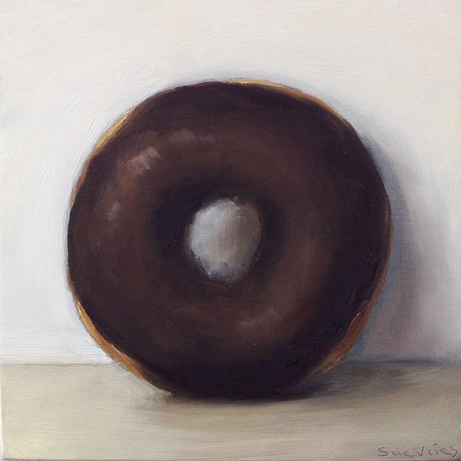 """Donut"" oil on wood, 14 x 14 cm"
