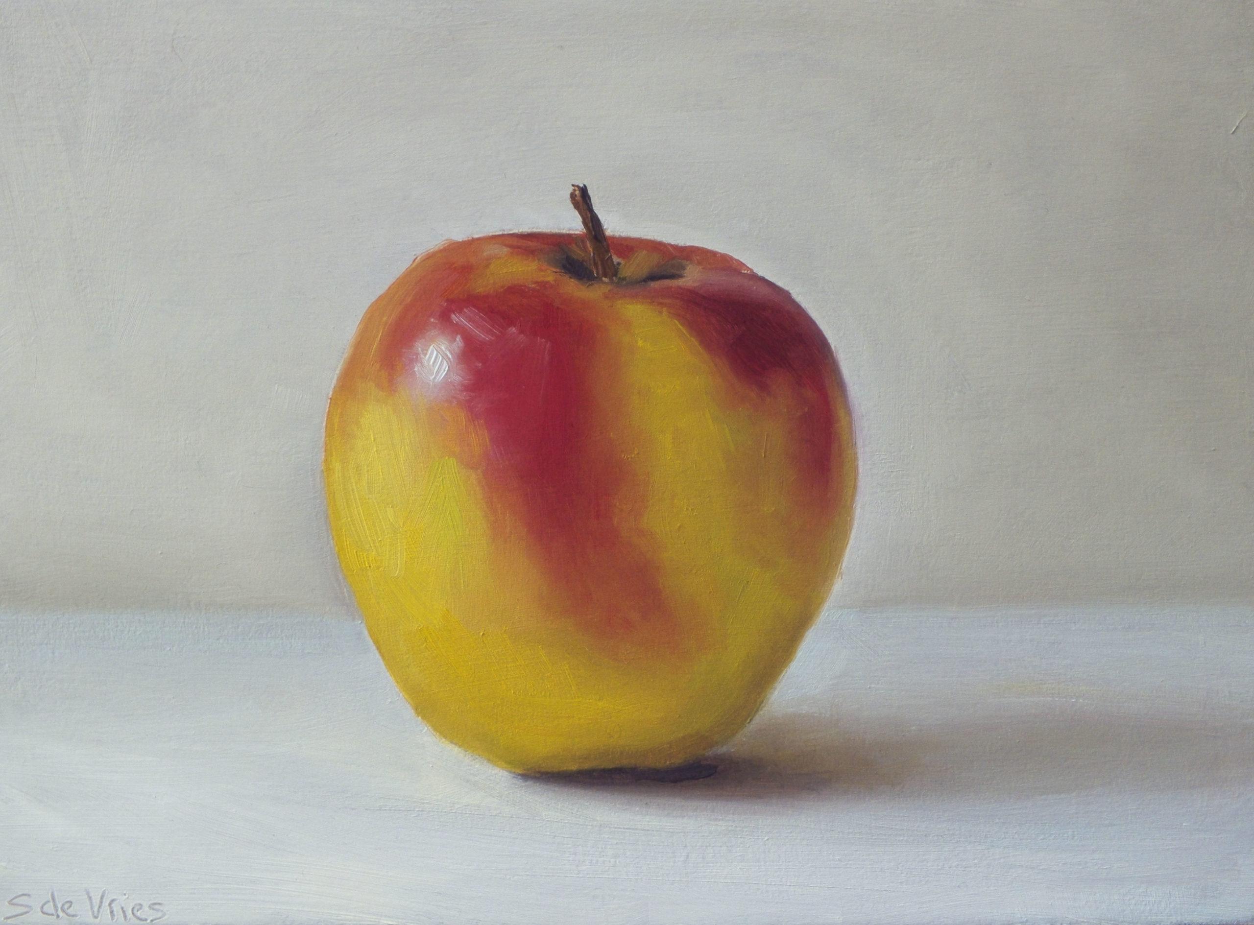 """""""Apple"""" oil on wood, 12.5 x 17 cm"""