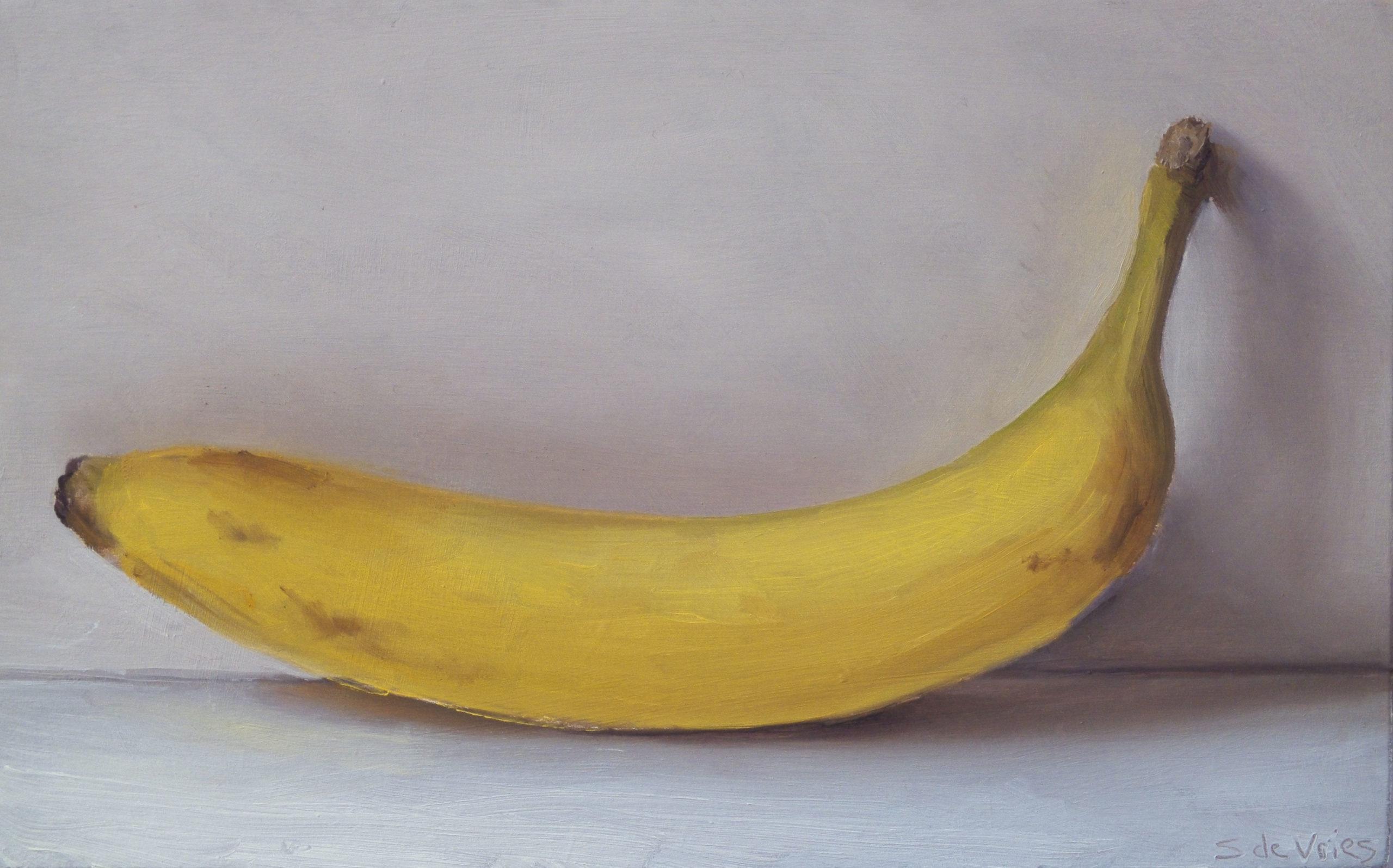 """""""Banana"""" oil on wood, 12.5 x 20 cm"""