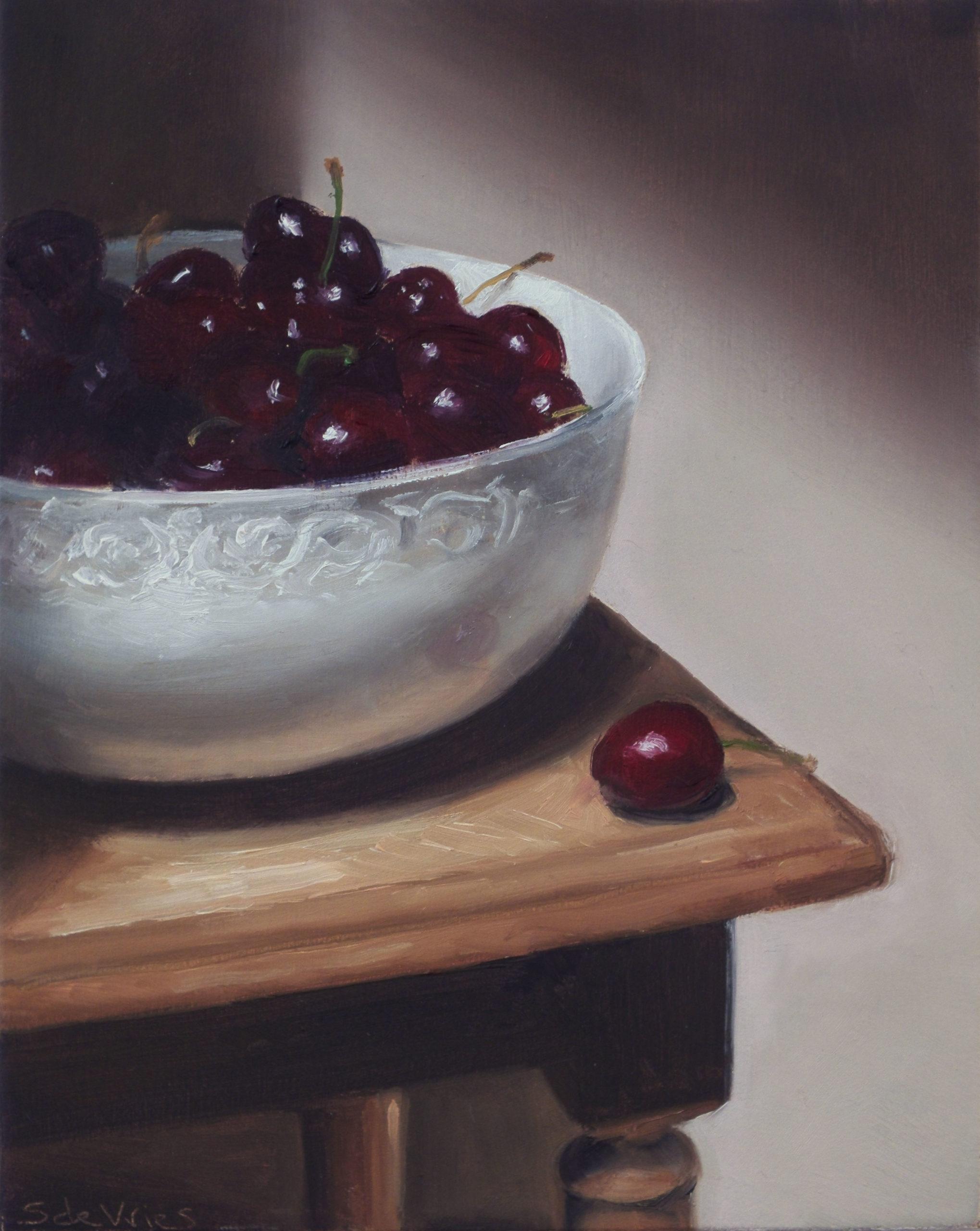 """Charries"" oil on wood, 17 x 13.5 cm"