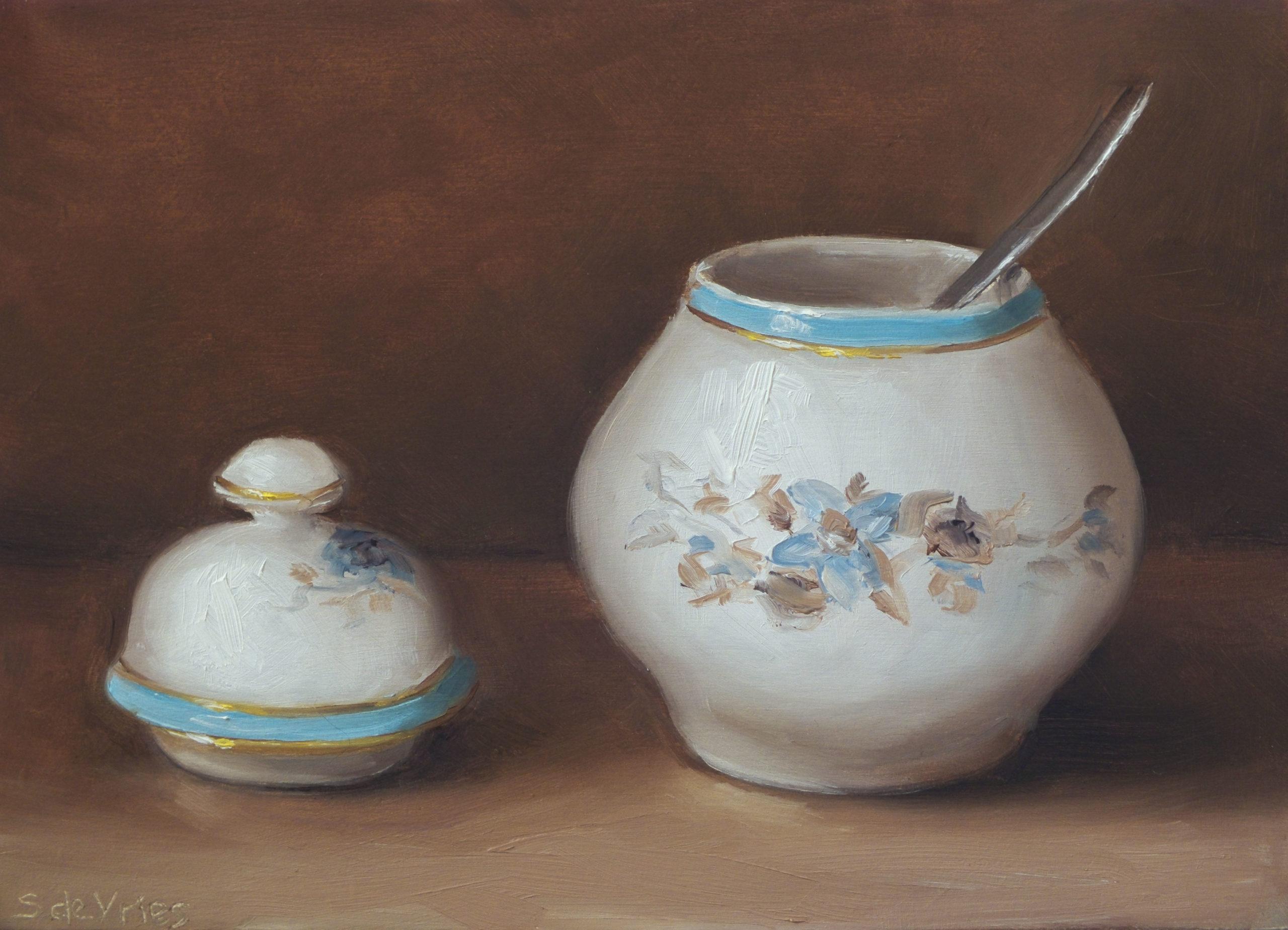 """Porcelain sugar bowl"" oil on wood, 13 x 18 cm"
