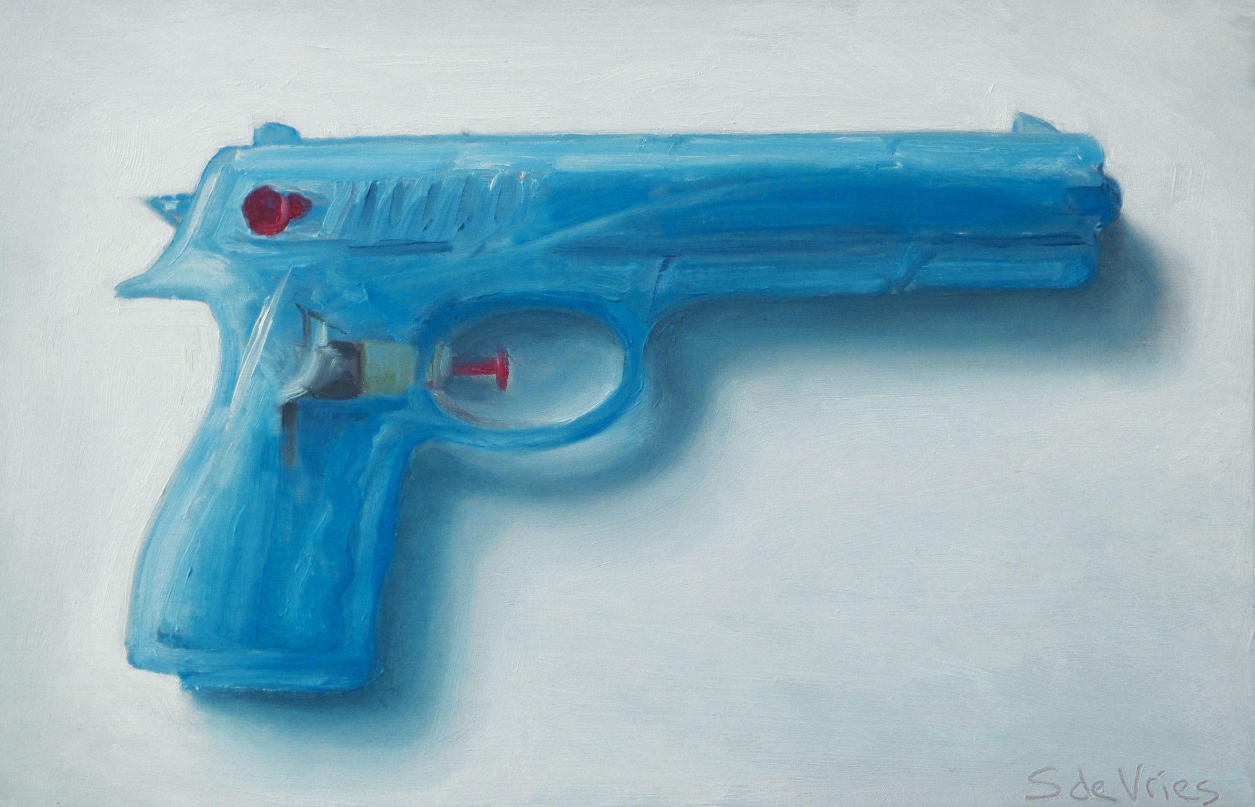 """""""Water pistol n°2"""" oil on wood, 13 x 20 cm"""